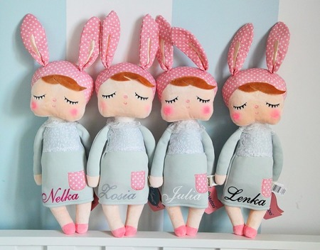 Metoo Angela Personalized Bunny Doll in Grey Dress