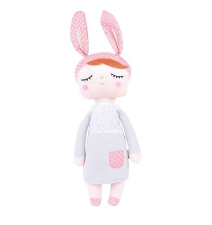 Metoo Anegla Bunny Doll in Grey Dress