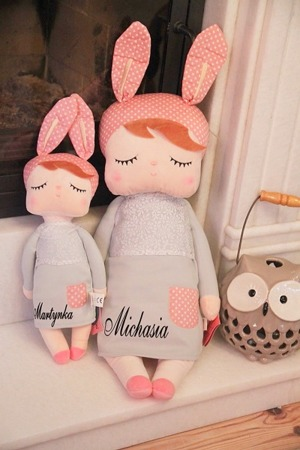 Metoo Angela Personalized XL Bunny Doll in Grey Dress