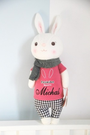 Metoo Personalized Tiramisu Bunny with Grey Scarf