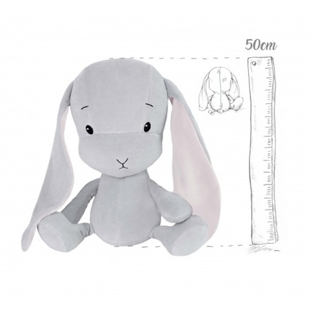 Personalized Bunny Effik L - Gray with Pink ears 50 cm
