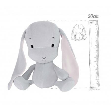 Effik Królik S personalizowany - Szary z Różowymi uszami 20 cm